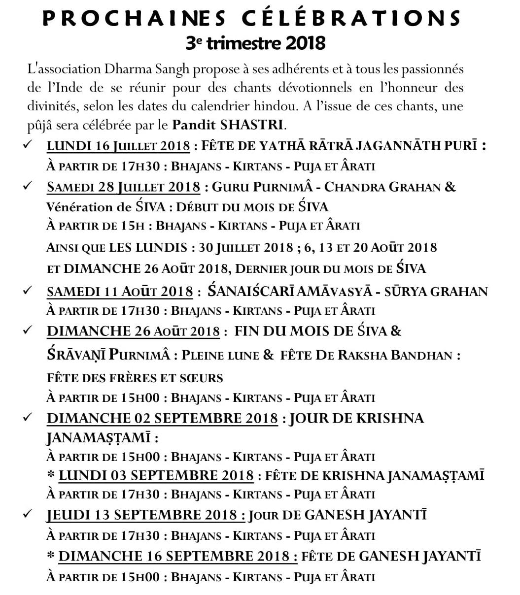CELEBRATIONS Fetes 3eme trimestre 2018-1