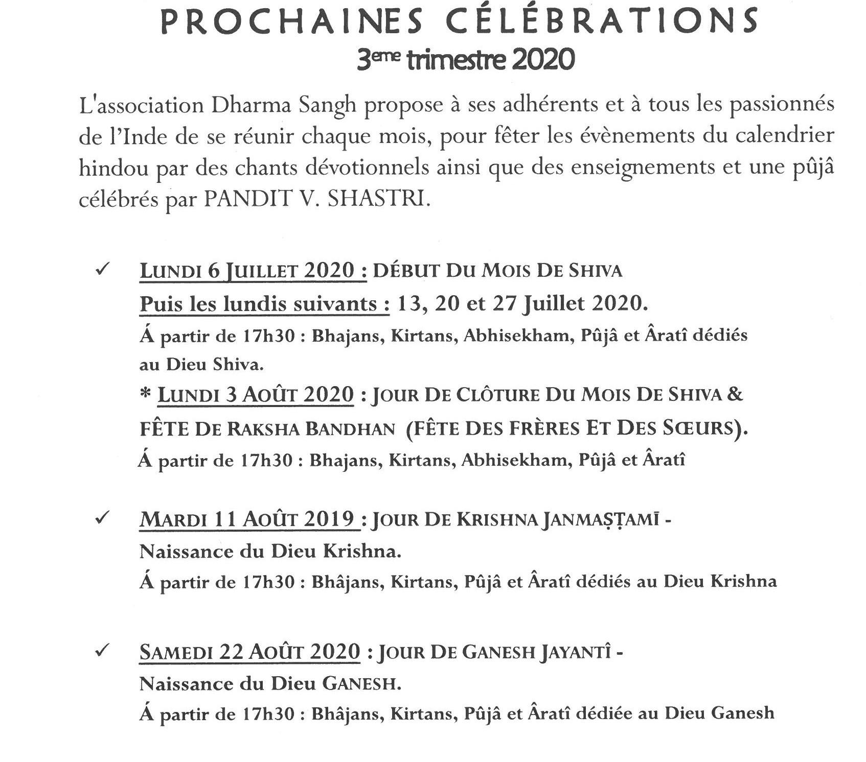 prochaines célébrations 3E TRIM 2020