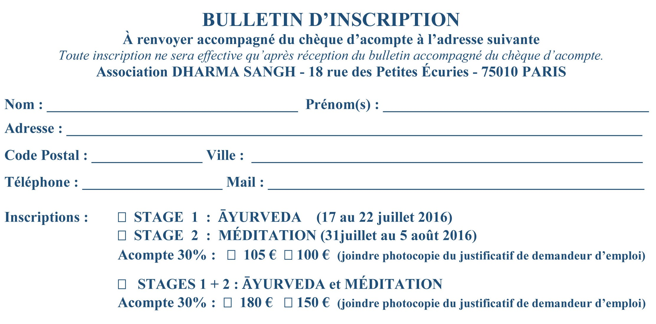 stage d'été 2016 rect BULLETIN D'INSCRIPTION