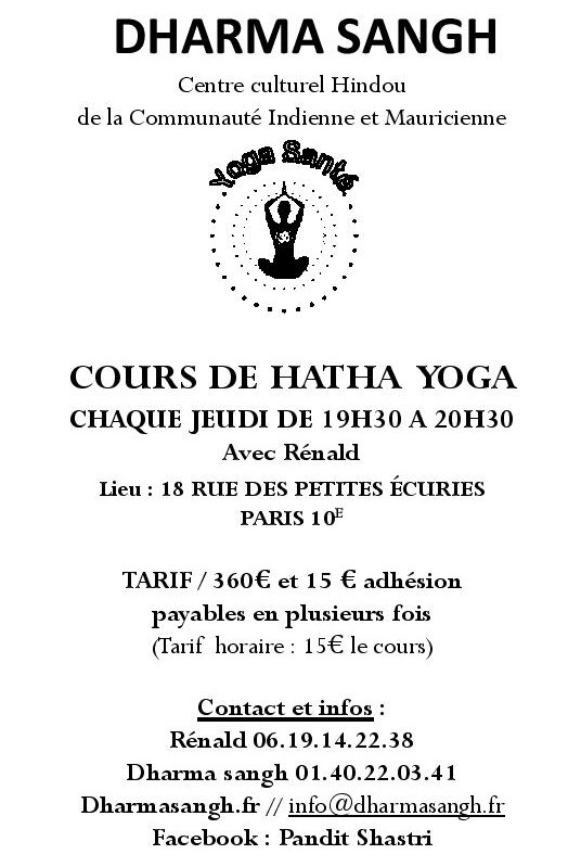 FLYERS COURS YOGA COURS JEUDI RENALD