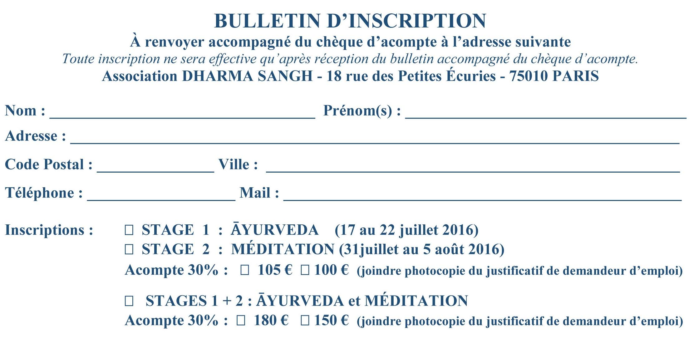 stage d'été 2016 rect BULLETIN D'INSCRIPTION